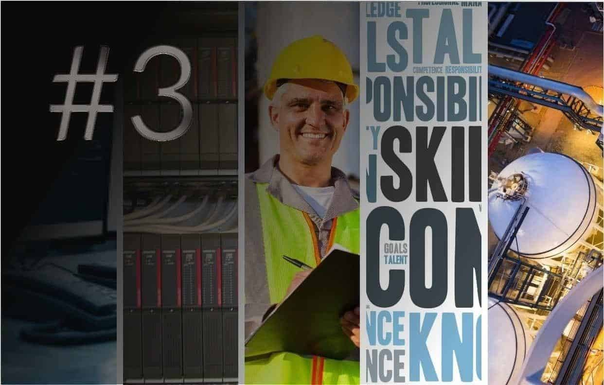 A mix of industrial images, including safety programmable controller, competence wordle, process industry background and man in hard hat and high visibility ppe