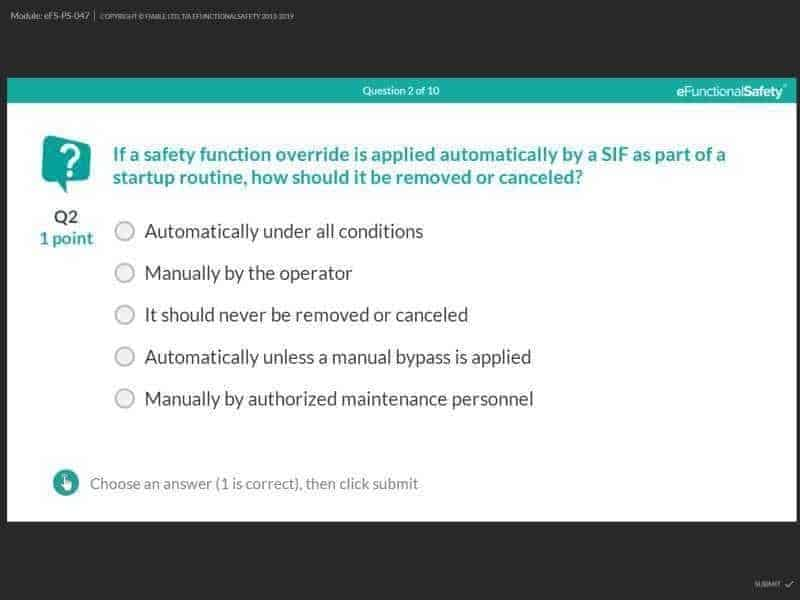 eFunctionalSafety quiz for safety instrumented systems course