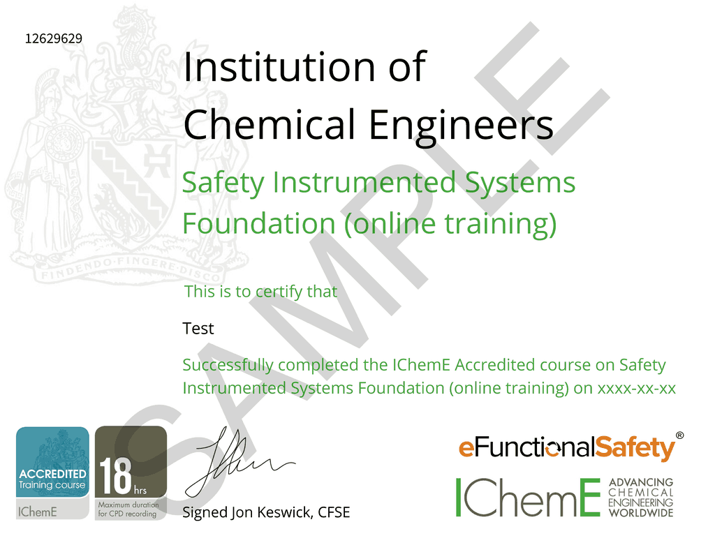 Sample certificate for safety instrumented system online course - IChemE and eFunctionalSafety
